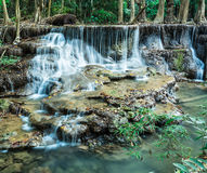 Deep forest waterfall at Huay Mae Khamin, Kanchanaburi province Royalty Free Stock Photography