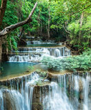 Deep forest waterfall at Huay Mae Khamin, Kanchanaburi Stock Image