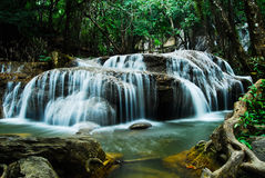 Deep forest Waterfall in Kanchanaburi Stock Photos