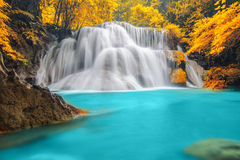 Deep forest Waterfall in Kanchanaburi Royalty Free Stock Image