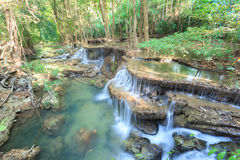 Deep forest Waterfall in Kanchanaburi (Huay Mae Kamin) Royalty Free Stock Photo