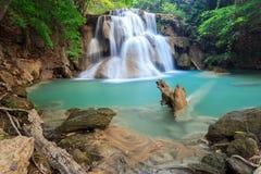 Deep forest Waterfall in Kanchanaburi. (Huay Mae Kamin), Thailand Stock Photo