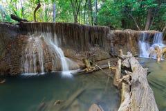 Deep forest Waterfall in Kanchanaburi (Huay Mae Kamin). Thailand Stock Photography