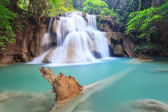 Deep forest Waterfall in Kanchanaburi (Huay Mae Kamin) Royalty Free Stock Image