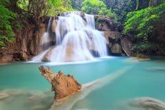 Deep forest Waterfall in Kanchanaburi (Huay Mae Kamin). Thailand Royalty Free Stock Image