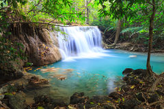 Deep forest Waterfall in Kanchanaburi (Huay Mae Kamin). Thailand Royalty Free Stock Images