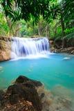 Deep forest Waterfall in Kanchanaburi (Huay Mae Kamin) Stock Photo