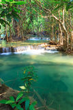 Deep forest Waterfall in Kanchanaburi (Huay Mae Kamin) Stock Photo