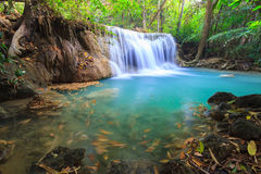 Deep forest Waterfall in Kanchanaburi (Huay Mae Kamin). Thailand Stock Images