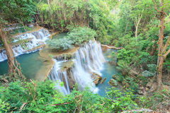 Deep forest Waterfall in Kanchanaburi (Huay Mae Kamin) Stock Photos