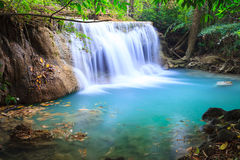 Deep forest Waterfall in Kanchanaburi (Huay Mae Kamin) Royalty Free Stock Photography