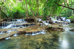 Deep forest Waterfall in Kanchanaburi (Huay Mae Kamin) Stock Photography