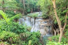 Deep forest Waterfall in Kanchanaburi (Huay Mae Kamin). Thailand Stock Image