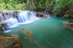 Deep forest Waterfall in Kanchanaburi (Huay Mae Kamin). Thailand Royalty Free Stock Photography