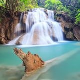 Deep forest Waterfall in Kanchanaburi (Huay Mae Kamin). Thailand Stock Photos