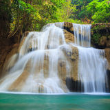 Deep forest Waterfall in Kanchanaburi (Huay Mae Kamin) Stock Image