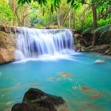 Deep forest Waterfall in Kanchanaburi (Huay Mae Kamin). Thailand Royalty Free Stock Photo