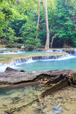 Deep forest Waterfall in Kanchanaburi (Huay Mae Kamin) Royalty Free Stock Photos