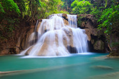 Deep forest Waterfall in Kanchanaburi in Thailand Stock Image