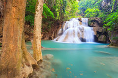 Deep forest Waterfall in Kanchanaburi in Thailand Stock Images