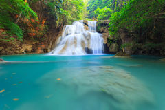 Deep forest Waterfall in Kanchanaburi in Thailand Royalty Free Stock Photography