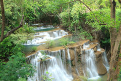 Deep forest Waterfall in Kanchanaburi, Thailand Stock Image