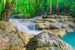 Deep forest Waterfall in Kanchanaburi, Thailand Royalty Free Stock Photo
