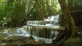 Deep forest waterfall. In national park Thailand(Waterfall Huay Mae Kamin stock video