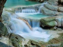 Deep forest waterfall in Thailand Erawan Waterfall Royalty Free Stock Photo