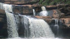 Deep forest waterfall in Thailand (Erawan Waterfall). HD Format : Deep forest waterfall in Thailand (Erawan Waterfall stock footage