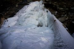 Frozen water fall in the Blue Ridge Mountains Royalty Free Stock Photos