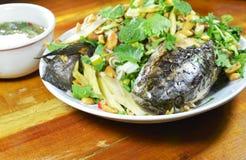 Deep fried镶边了蛇顶头鱼用混杂的草本和甜调味汁 免版税库存照片