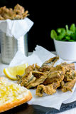 Deep Fried Anchovies. Are typical and most of all popular tapas food in Spain Stock Photo