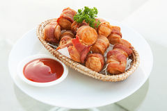 Deep Fried Bacon Wrapped Sausage Royalty Free Stock Photos