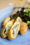 Deep fried breadcrumbed fresh sea oyster Royalty Free Stock Photos