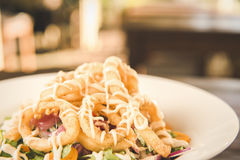 Deep fried calamari rings and salad Royalty Free Stock Image