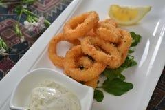 Deep fried calamari. Squid cuisine Stock Images