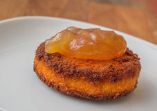 Deep fried camembert with pear cinnamon marmalade Royalty Free Stock Image