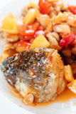 Deep fried carp in sauce Royalty Free Stock Images