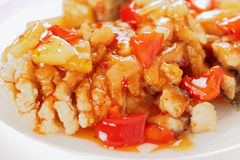 Deep fried carp in sweet-sour sauce, close-up Royalty Free Stock Photos