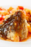 Deep fried carp in sweet-sour sauce, close-up Royalty Free Stock Image