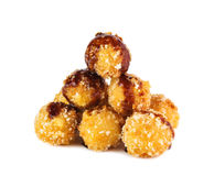 Deep fried cheese balls with soy sauce  on white backgro. Deep  fried golden cheese balls Royalty Free Stock Image