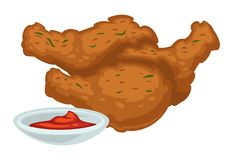 Deep fried chicken legs with sauce fast food meal. Fast food meal deep fried chicken legs with bbq or ketchup sauce vector drumsticks or poultry legs with crispy vector illustration