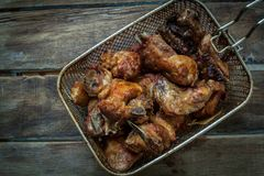 Chicken fried on table Royalty Free Stock Images