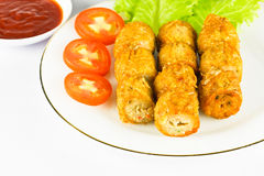 Deep fried chicken rool. Deep fried chicken roll with tomato,lettuce and sauce Royalty Free Stock Images