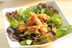 Deep fried chicken salad Royalty Free Stock Images