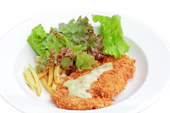 Deep fried chicken steak with tomato fried and salad Stock Photos