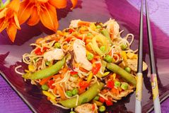 Deep fried chicken with vegetables and noodles stock images