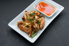 Deep fried chicken wings with lemongrass, Stock Photo