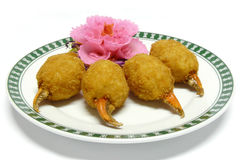 Deep fried crab claw stuffed with minced shrimp Royalty Free Stock Images